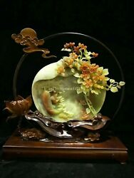 14and039and039 Natural Xiuyan Jade Hand-carved Home Furniture Display Treasure Fish Flower