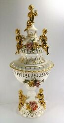 Monumental Capodimonte Porcelain Centerpiece And Co. 36 3/4 Tall Lighted