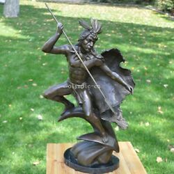 27and039and039 Bronze Sculpture Home Decorate A Indian Hunting Man Statue