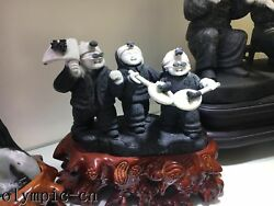Dushan Jade Sculpture Chinese People Life Style And Customs Three Boys Child