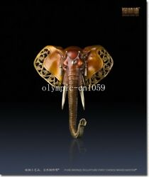 28and039and039 Superfine Brass Colored Drawing Folk Home Fengshui Elephant Head Statue