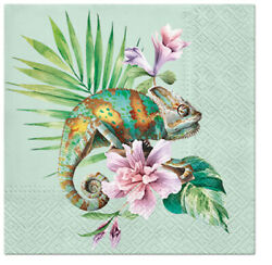 Green Exotic Chameleon on Palm Leaves 40pcs Lunch Paper Napkins Tropical Summer