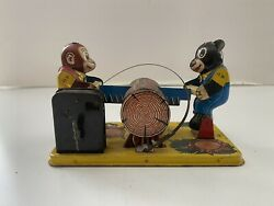 Japan Yone Monkey And Bear With Saw Tin Toy