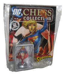 Dc Supergirl White Pawn Chess Figure And Eaglemoss Collector Magazine Book 37
