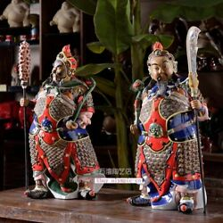 22and039and039 China Porcelain Ceramic Art Pottery Pair Folk Home Fengshui Door-god Statue