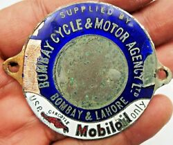 Vintage Mobiloil Advertise Sign Badge Bomby Cycle And Motor Agency Ltd Porcelain1