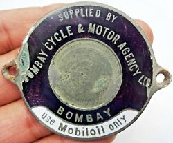 Vintage Mobiloil Advertise Sign Badge Bomby Cycle And Motor Agency Ltd Porcelain