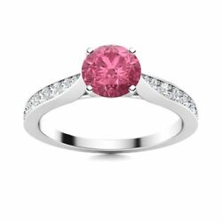Natural 0.89 Ct Round Pink Tourmaline And Diamond Womenand039s Ring In 14k White Gold