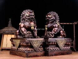 Pair 17and039and039 Bronze Home Guard Exorcise Evil Spirits Beast Treasure Lion Foo Dogs