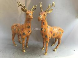 Pair 15and039and039 Red Copper Cloisonne Gold Flowers Auspicious Animal Sika Deer Statue
