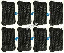 8 Black Double Braided 3/8 X 20and039 Ft Hq Boat Marine Dock Lines Mooring Ropes