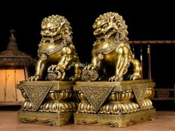 Pair 17and039and039 Brass Home Guard Exorcise Evil Spirits Beast Treasure Foo Dogs Lion