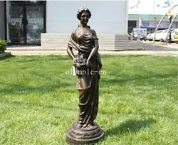 33''bronze Art Sculpture A Girl Women Lady Hold Ice Cream Statue Marble Base