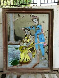 Antique King And Queen Reverse Glass Paintings Of India Wall Hanging Frame F