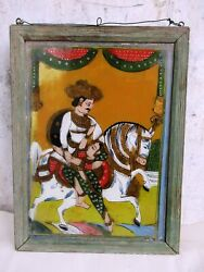 Antique Reverse Glass Paintings Of India Horse Mounted King And Queen Wall Framef