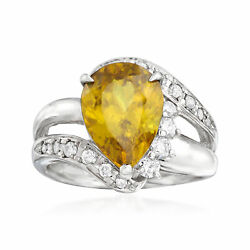 Vintage Sphene And Diamond Ring In Platinum Size 6