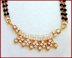 1.28ct Natural Round Diamond 14k Solid Yellow Gold Wedding Mangalsutra Necklace