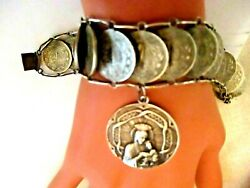 Sterling Mexican Centavos Coin Bracelet With Religious Charm