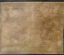 H.f. Walling Map Of The Towns Of Gloucester And Rockport 1851 Very Good 36x46
