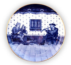 Antique Minton Charger 20 Musicians Impressed Dated 1877 Blue And White Large