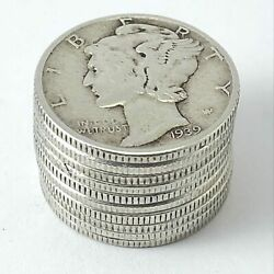 [lot Of 10] Unsearched Mercury Dimes 90 Silver