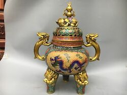 22and039and039red Copper Gold Cloisonne Enamel Flowers Dragon Elephant Lion Cense Burner