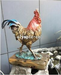 16 Inch Bronze Art Sculpture Auspicious Animal Painting Cock Rooster Statue
