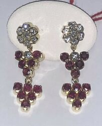 Pair Drop Earrings Vintage Years 80and039 Yellow Gold 18 Kt. Diamonds And Rubies