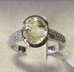 Gold Ring 18 Kt. With Diamonds And Sapphire Yellow Natural Ct. 3,27 With Search