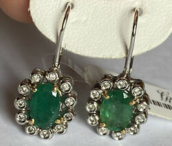 Pair Gold Earrings 18 Kt. With Diamonds And Emeralds Ct. 322