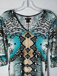 EVA VARRO Stretch Knit Tunic Small Abstract All Over Snakeskin Print Top - CUTE! $29.97