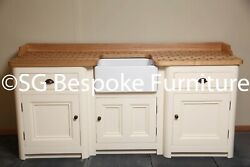 Hand Made Free Standing Sink Unit With Belfast Sink And Painted In Fandb New Whiteandnbsp