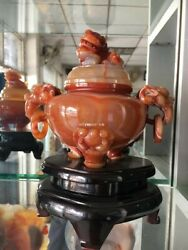 7and039and039 Natural Brazil Red Agate Carnelian Treasure Beast Fu Foo Dog Lion Censer