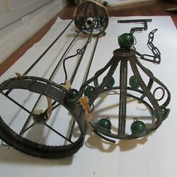 Antique Wrought Iron Medieval Middle Eastern Hanging Lamp Green Glass Marbles