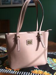 Anne Klein Pebbled Faux Leather Zip Top Shopper Tote in Soft Pink - EUC! $19.00