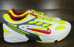 Size 13 Menand039s Nike Air Ghost Racer At5410 100 White Neon Volt / Red Running
