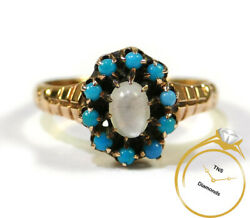 Antique Moonstone Turquoise 14k Rose Gold Ring