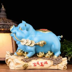 15and039and039brass Copper Mineral Pigment Home Fengshui Treasure Wealth Animal Pig Statue