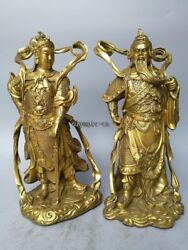 15and039and039 Brass Carved Folk Folk Temple Protective God Guan Gong And Wei Tuo Statue