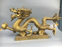 35and039and039classica Brass Carved Home Fengshui Auspicious Beast Dragon Play Ball Statue