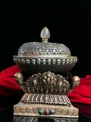 8'' Old Tibet Copper Silver Carved Skull Head Kapala Skull Cup Bowl Statue