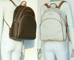Michael Kors Abbey LARGE MK Signature PVC Leather Backpack Vanilla Brown $198.00