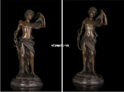 21and039andrsquo Bronze Art Sculpture A Man Hold Bow And Arrow Hunting Hawk Eagle Statue