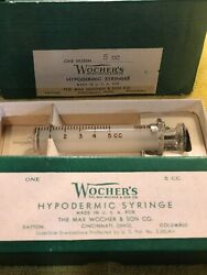 Vintage 5cc Glass Hypodermic Syringe Lot Of 11 Made In Usa By Wocher's