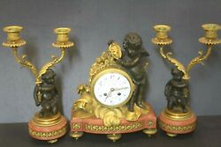 Working French Figural Putti Marble Gilt Bronze Mantle 3 Pc Clock Signed Leroy