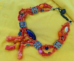 Antique Kabyle Coral Enamel Silver Glass Amber Necklace