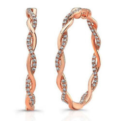 2.02cts Natural Diamond 14k Solid Rose Gold Wedding Anniversary Hoops Earrings