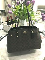 Coach F57842 Signature Drawstring Carryall Shoulder Tote in Brown