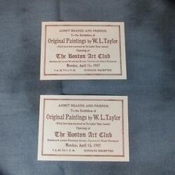 Pair 1907 Tickets Exhibition of Paintings William Ladd Taylor Boston Art Club