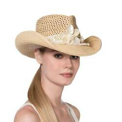 Authentic Nwt Eric Javits Nyc Womenand039s Hat Headwear - St. Tropez In Flax/white